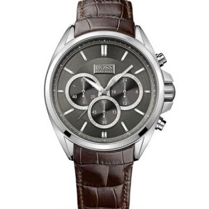 Hugo Boss Chronograph Croc-Embossed Leather Strap Driver Watch