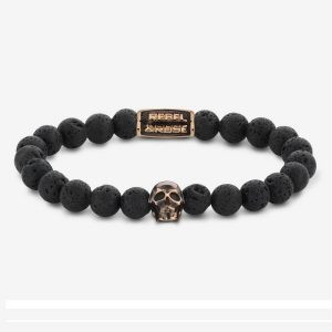 Rebel & Rose Armband Skull Black Moon S Rose Gold
