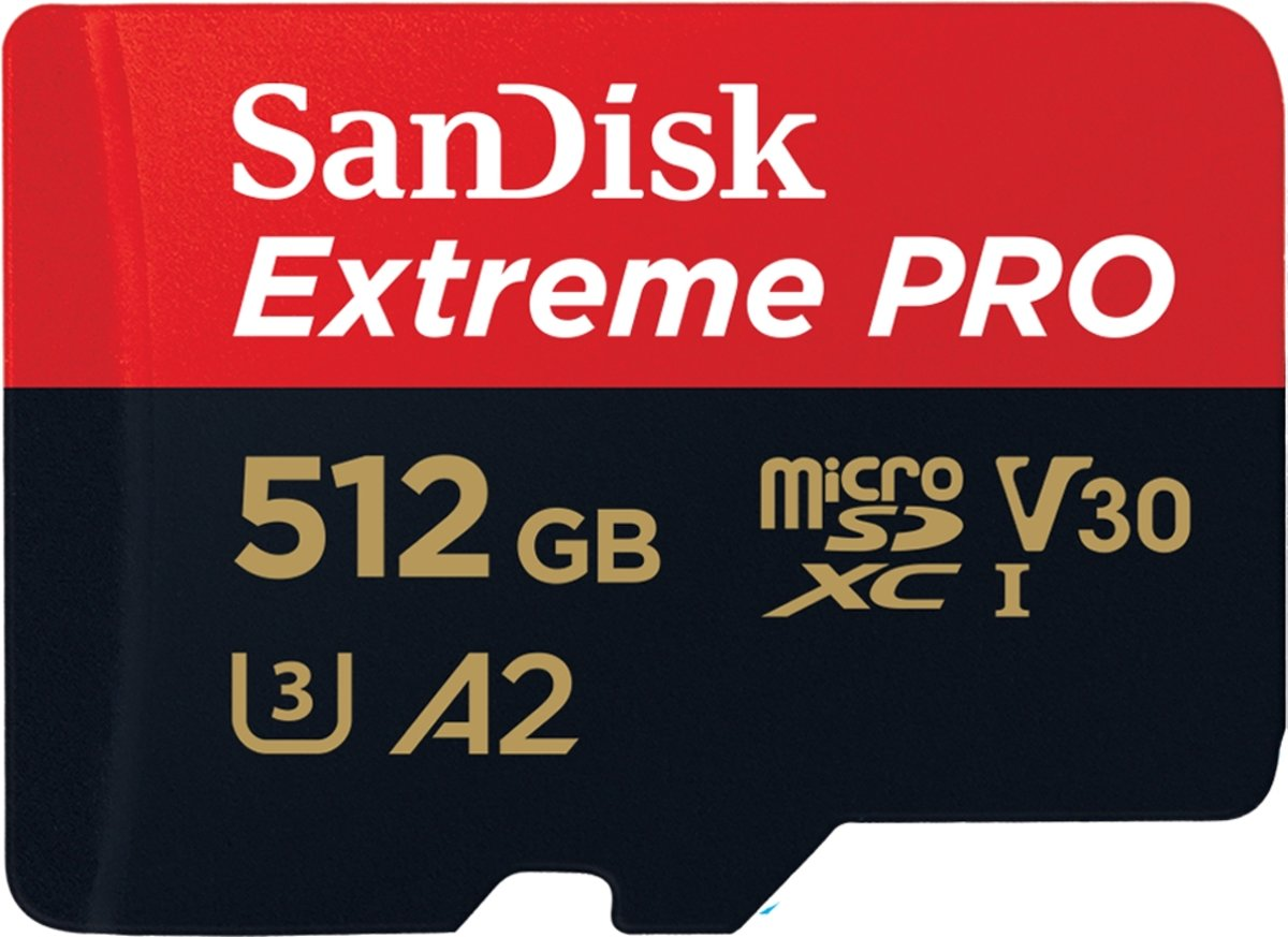 Sandisk Extreme Pro Micro SDXC 512GB - A2 V30 - met adapter