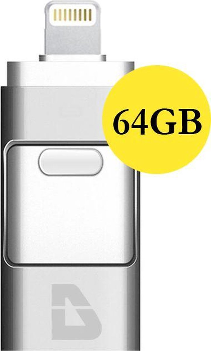 USB Stick 64GB - Flashdrive iPhone / iOS / Android 64GB - Flash Drive 3 In 1 - Douxe
