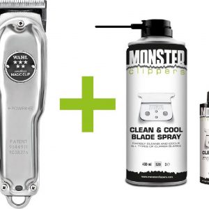 Wahl Magic Clip Cordless Tondeuse Zilver Metaal Limited Edition + Monster Clippers Clean & Cool Blade Spray & Olie