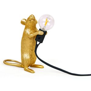 Seletti Mouse lamp - Goud staand