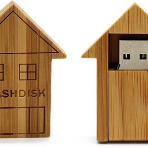 Hout huis USB stick 8GB