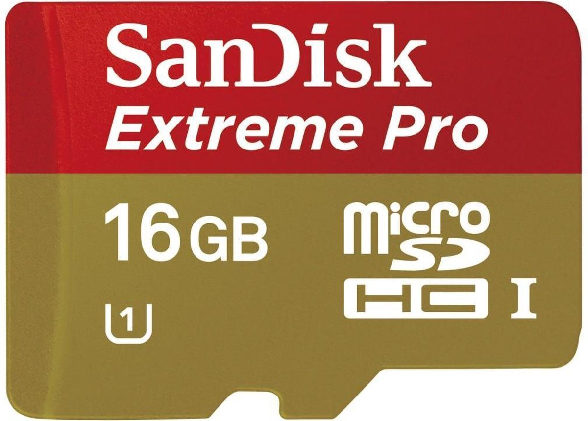 Sandisk Extreme PRO Micro SD kaart 16 GB + Adapter